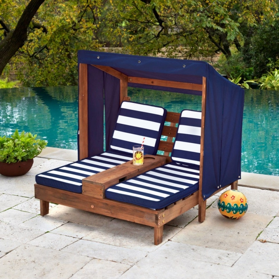 Favorite Double Chaise Lounge With Cup Holders  Espresso & Navy Pertaining To Kidkraft Double Chaise Lounges (View 5 of 15)