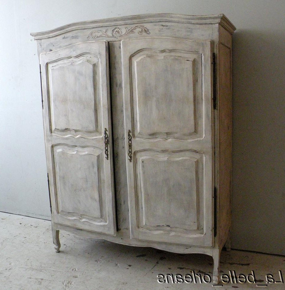 Favorite French Wardrobes For Sale For Shabby French Country Two Door Armoire/cabinet  (View 4 of 15)