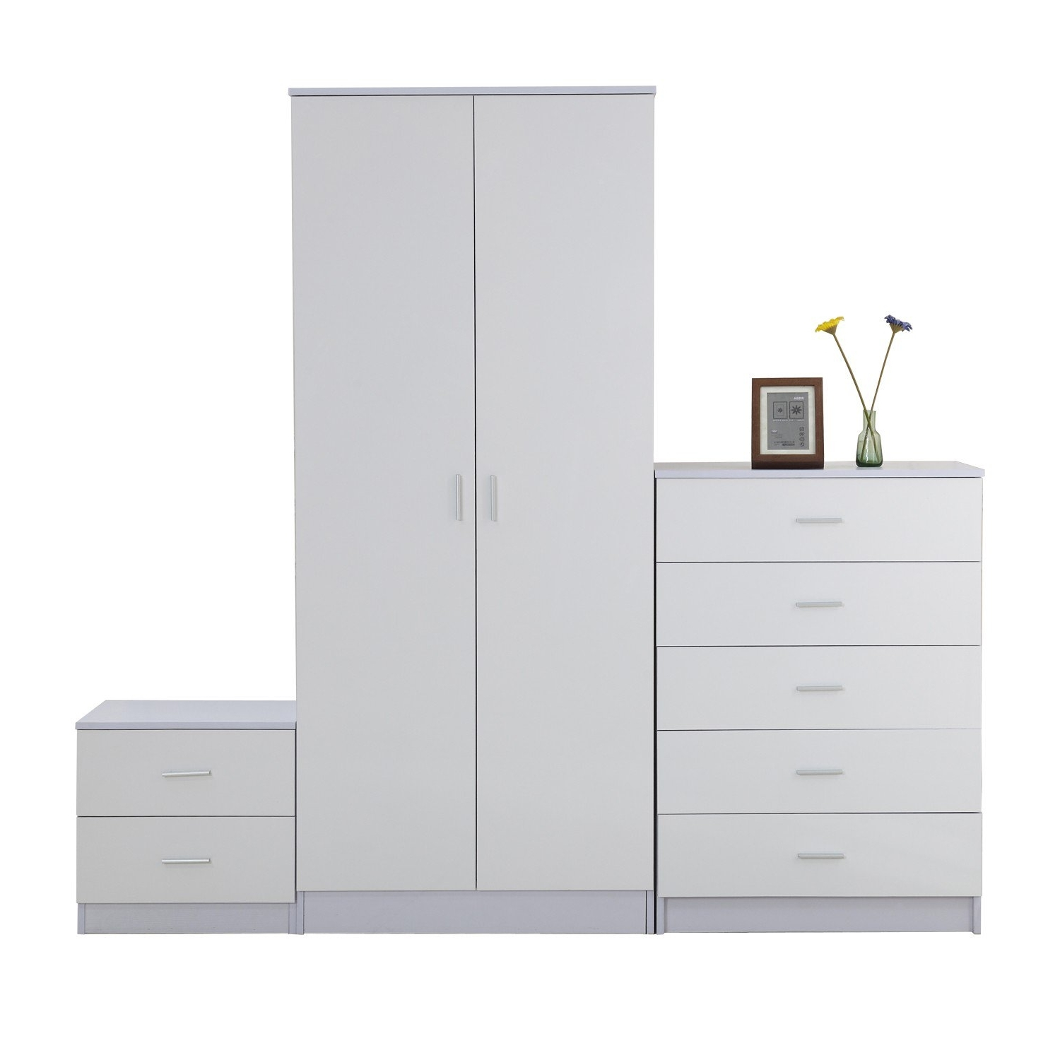 Favorite Homcom 3 Pc High Gloss Wardrobe Set White (View 7 of 15)