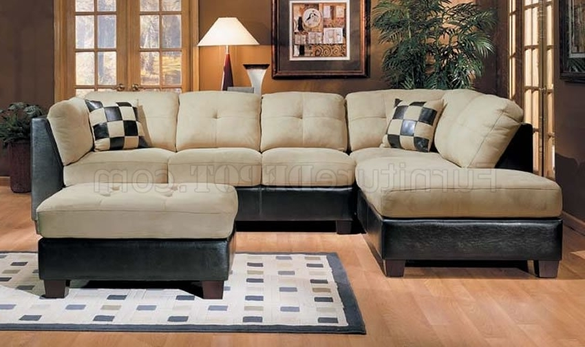 Favorite Leather And Suede Sectional Sofas Regarding Microsuede And Leather Two Tone Sectional Sofa (View 6 of 10)