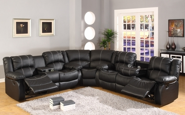 Favorite Motion Sectional Sofas Regarding Faux Leather Reclining Motion Sectional Sofa W/ Storage Console (View 8 of 10)