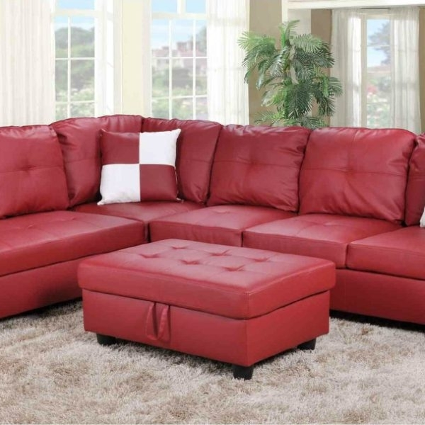 Favorite Red Faux Leather Sectionals With Regard To F093B – Red Faux Leather Sectional With Storage Ottoman – All (View 2 of 10)