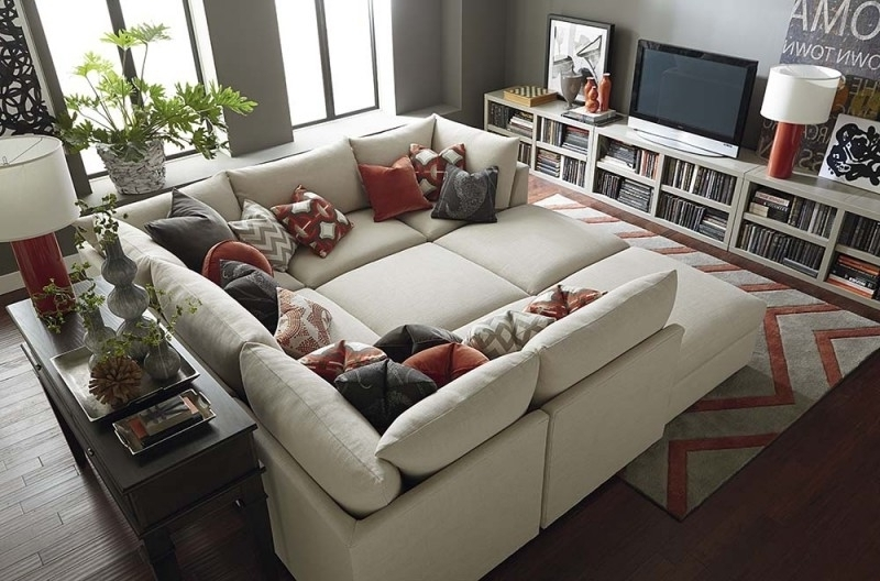 Favorite Sectional Sofas With Oversized Ottoman Inside Sofa Beds Design: Astonishing Contemporary Sectional Sofa With (View 1 of 10)