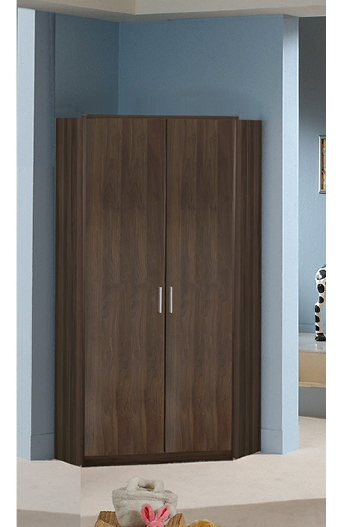 Favorite Slumberhaus 'berlin' German Made Modern Walnut 2 Door Corner Wardrobe Regarding 2 Door Corner Wardrobes (View 9 of 15)