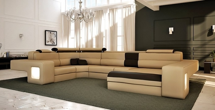 Favorite U Shaped Leather Sectional Sofas Inside Sectional Sofa Design: Awesome U Shaped Leather Sectional Sofa U (View 3 of 10)