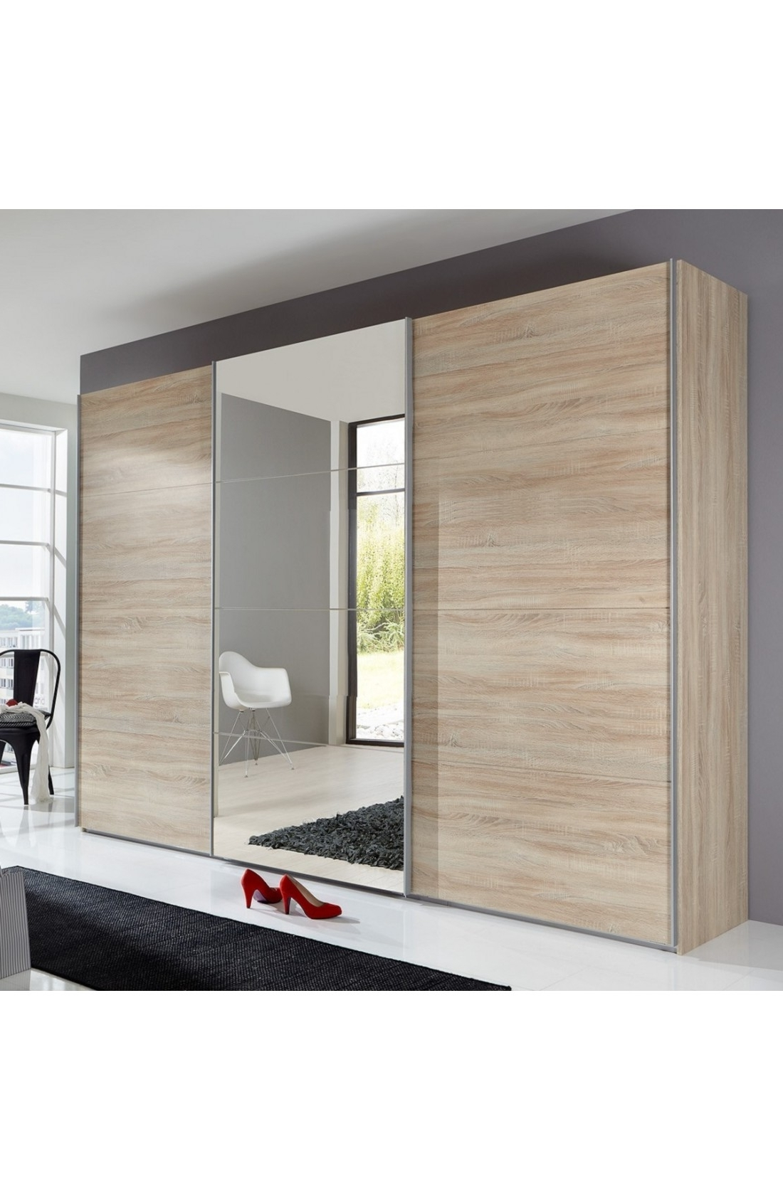 Favorite Wardrobes 3 Door With Mirror Within Slumberhaus 'ernie' German Made Modern 270cm Oak & Mirror 3 Door (View 11 of 15)