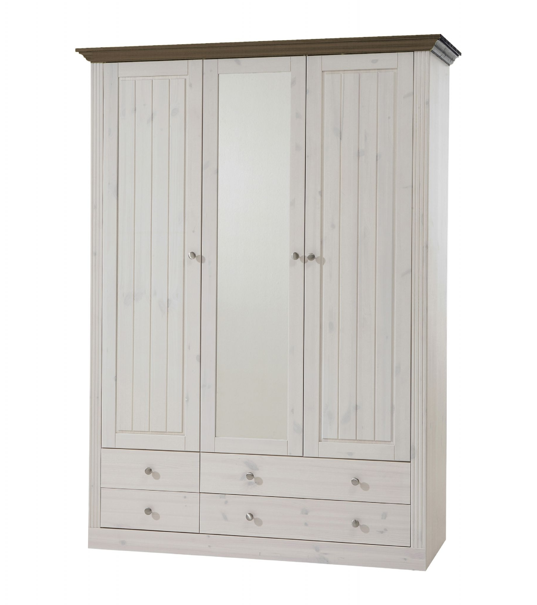 Favorite Whitewash Wardrobes Inside Monaco 2 1 Glazed Door 2 2 Drawer Pine Wardrobe Whitewash Dark (View 3 of 15)
