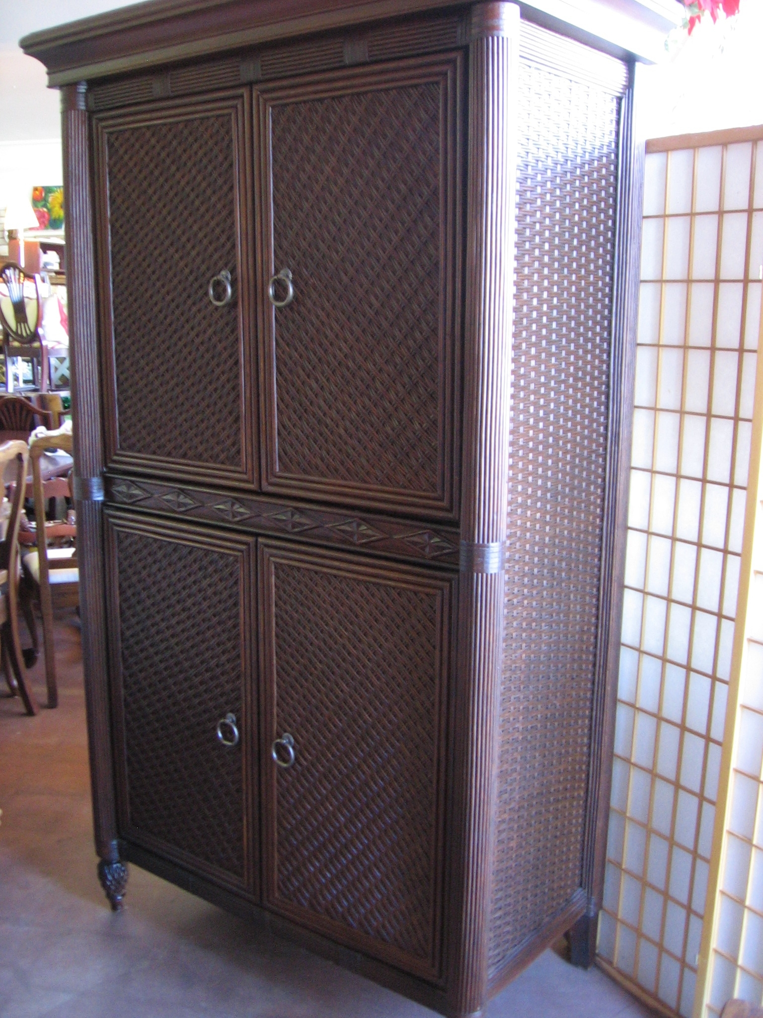 Favorite Wicker Armoire Wardrobes Intended For Bedroom: Antique Interior Storage Design With Wardrobe Armoire (View 4 of 15)