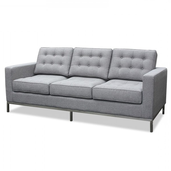 Florence Knoll Fabric Sofas Regarding Recent Florence Knoll Fabric 3 Seater Light Grey Lounge Replica (View 4 of 10)