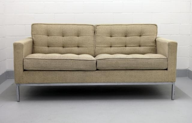 Florence Large Sofas Intended For Newest Two Seater Chrome And Wool Sofaflorence Knoll For Knoll, 1970s (View 9 of 10)