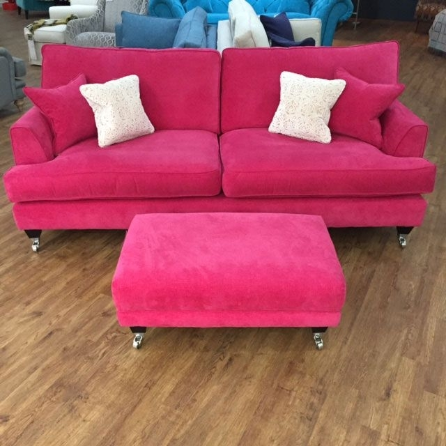Florence Large Sofas Pertaining To Trendy Florence Large Sofa And Footstool In Vogue Hot Pink Http://www (View 2 of 10)