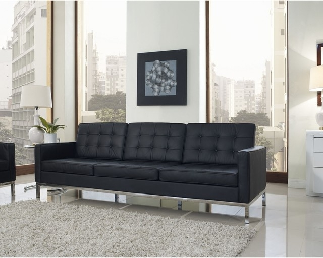 Florence Style Black Leather Loft Sofa – Contemporary – Living Intended For 2017 Florence Knoll Style Sofas (View 10 of 10)