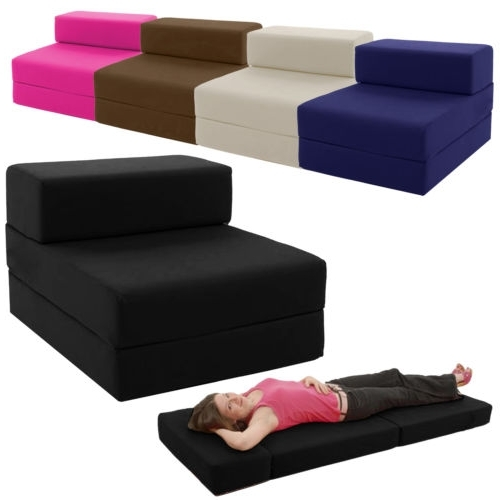Fold Up Sofa Chairs Within Best And Newest Single Chair Bed Z Guest Fold Out Futon Sofa Chairbed Lounger (View 9 of 10)