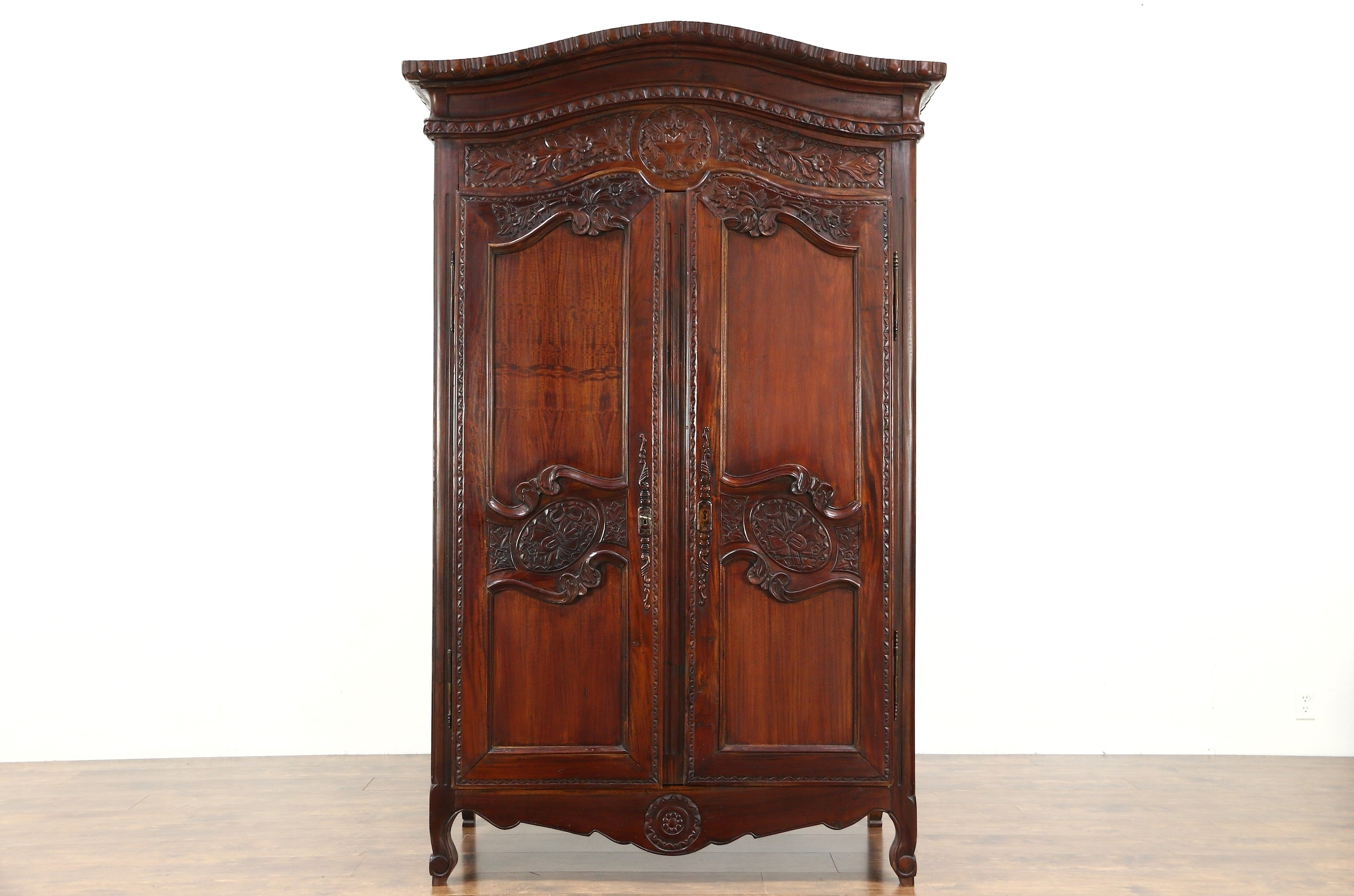 French Armoires And Wardrobes Within Popular Sold – French Style Hand Carved Mahogany Vintage Armoire, Wardrobe (View 3 of 15)