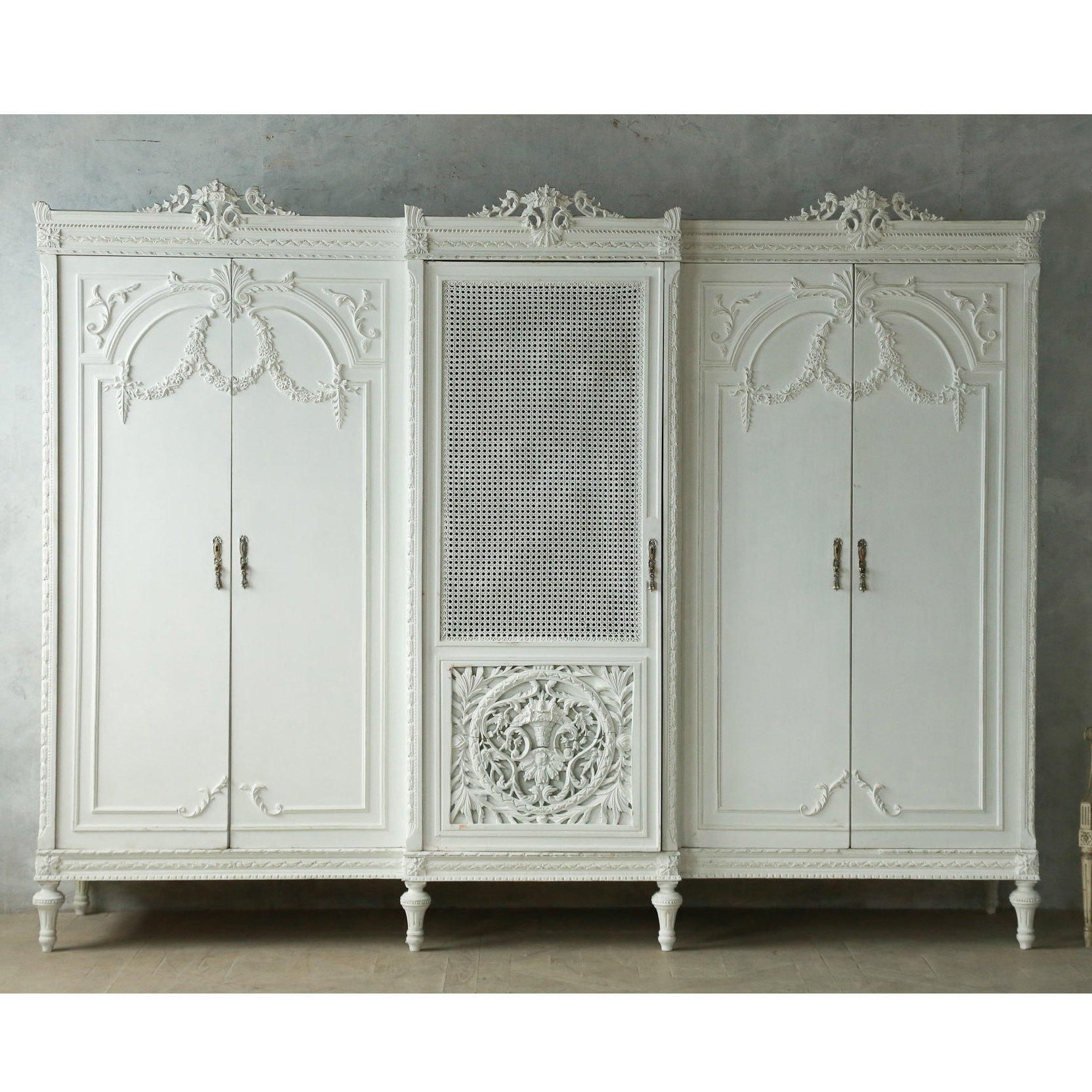 French Built In Wardrobes Within Trendy Vintage Louis Xvi Style Wardrobe Cane Grey French Rose Swag 5 Door (View 9 of 15)