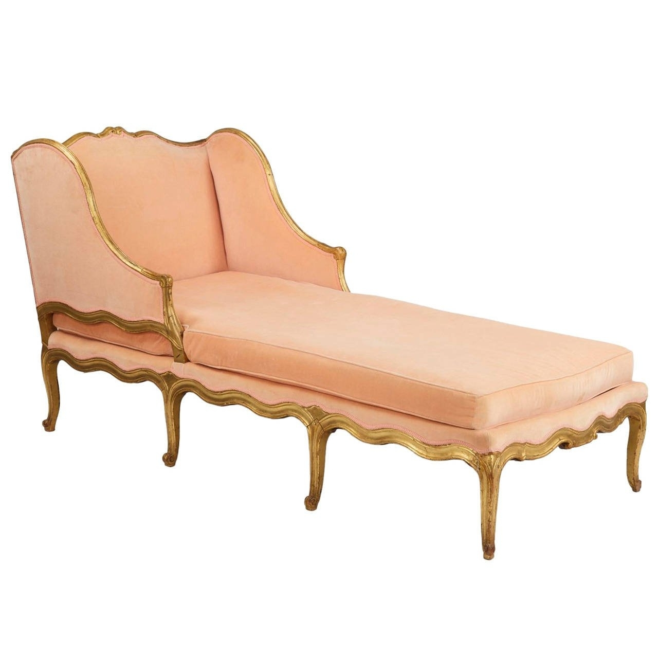 French Louis Xv Style Giltwood Antique Chaise Longue Lounge Settee For Most Recent Antique Chaise Lounges (View 9 of 15)
