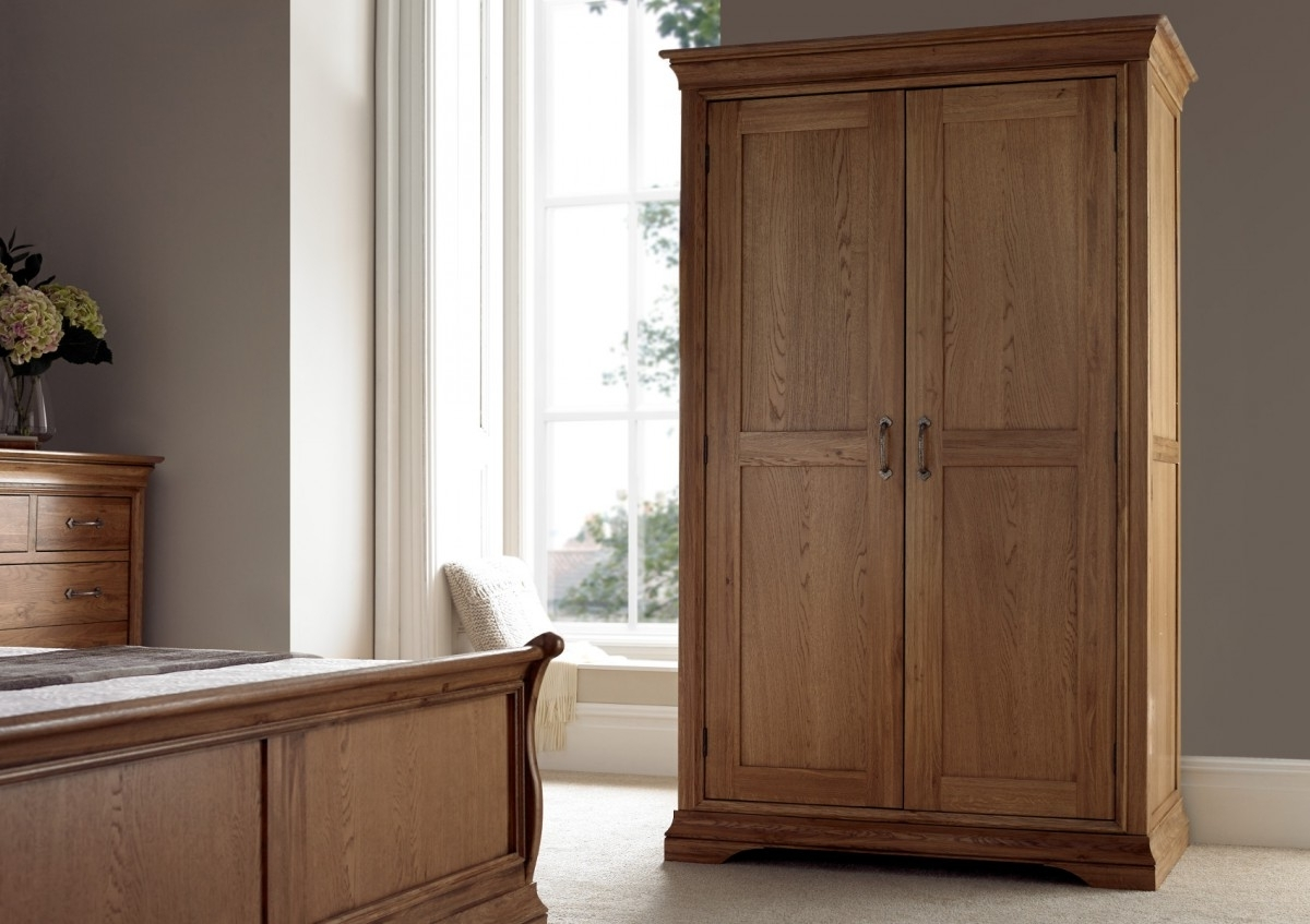 French Style Versaille Rustic Oak Full Length Wardrobe – Furniture With Widely Used Oak Wardrobes (View 10 of 15)