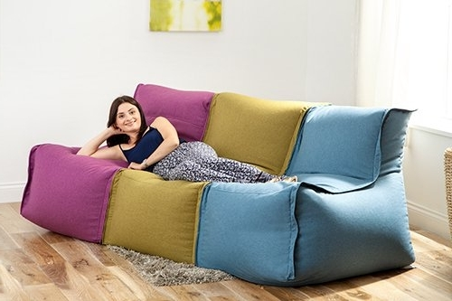 Fun!ture Olive Zip Together Modular Bean Bag Lounger Seating Sofa Inside Fashionable Bean Bag Sofas (View 4 of 10)