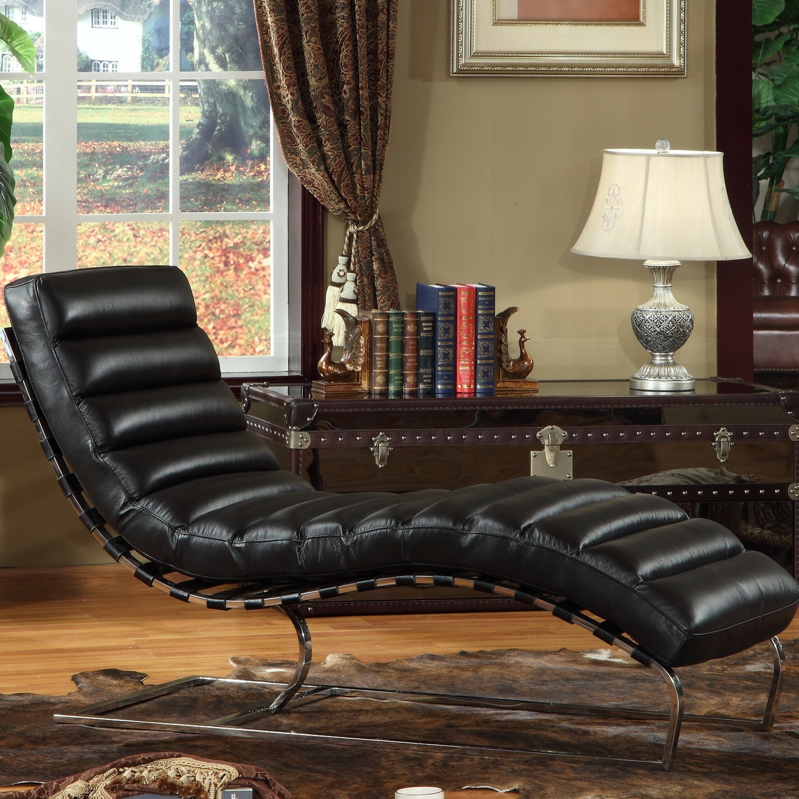 Furniture: Alluring Leather Chaise With Unique Design — Agisee In Well Liked Leather Chaises (View 6 of 15)