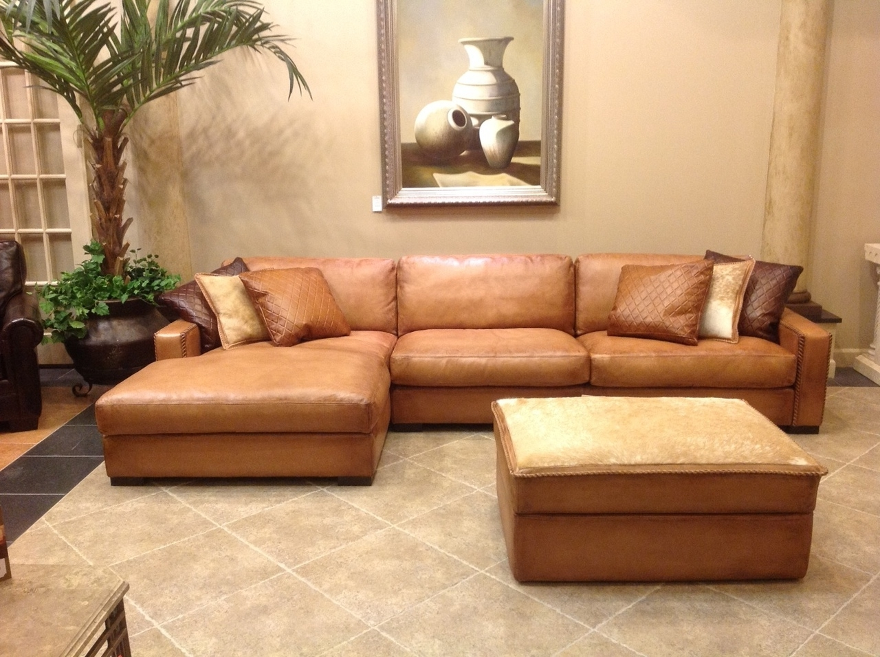 Furniture: Comfortable Deep Seat Sectional For Your Living Room With Famous Leather Chaise Sectionals (View 4 of 15)