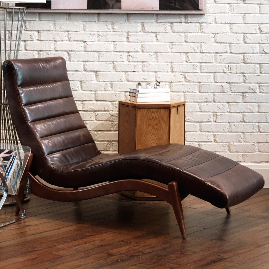 Furniture: Elegant Black Leather Chaise For Living Room Inside Popular Black Leather Chaise Lounge Chairs (View 14 of 15)