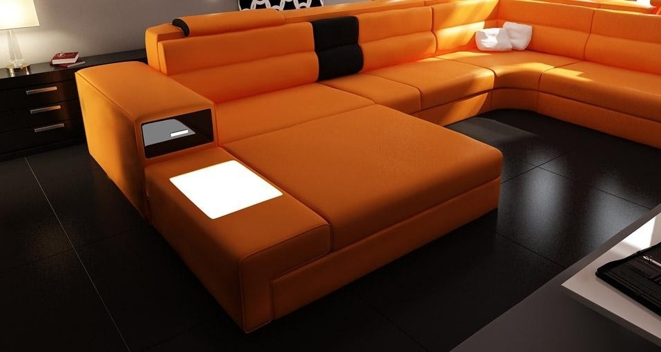 Furniture Polaris Orange Contemporary Leather Sectional Sofa With Well Known Orange Sectional Sofas (View 9 of 10)