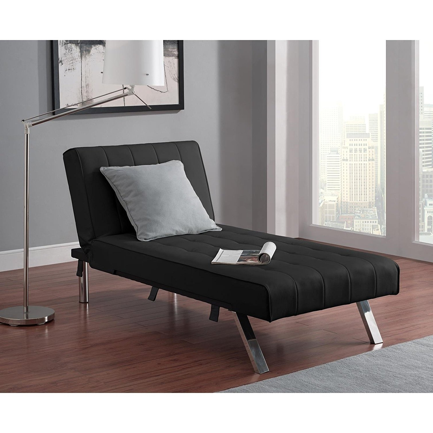Futons With Chaise Lounge Regarding Most Recent Amazon: Emily Futon With Chaise Lounger Super Bonus Set Black (View 2 of 15)