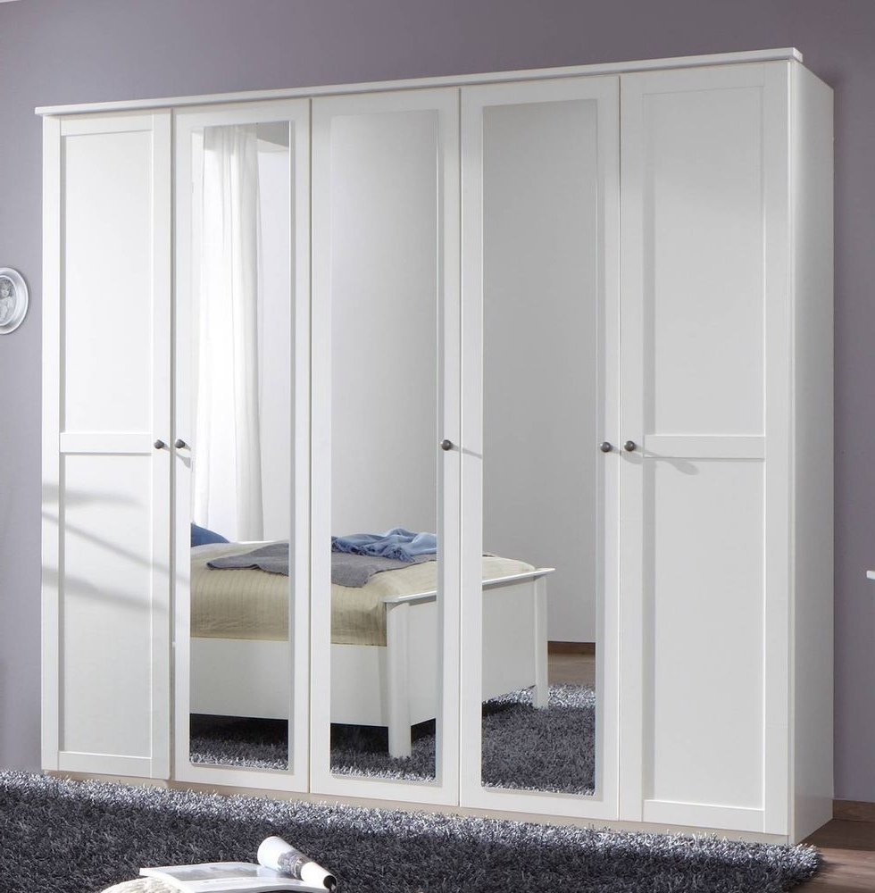 German Chalet Shaker Style White Large 5 Door Mirror Wardrobe Within Most Recent 5 Door Mirrored Wardrobes (View 9 of 15)