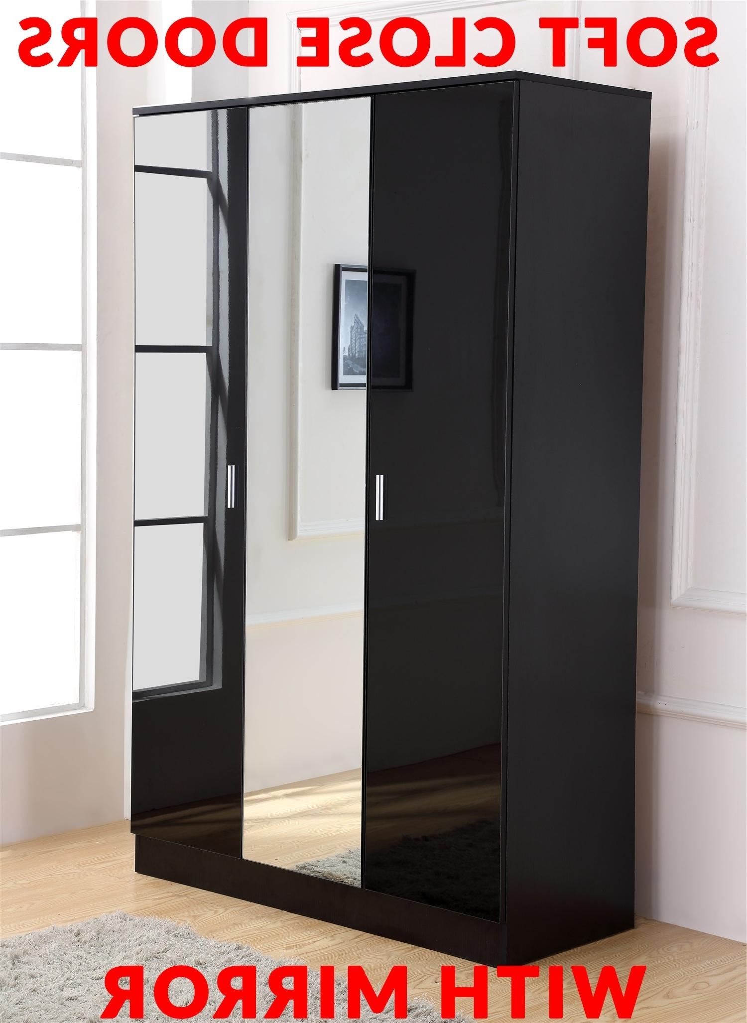 Gladini Xl Mirrored Black High Gloss 3 Door Wardrobe Inside Trendy Black Gloss 3 Door Wardrobes (View 10 of 15)