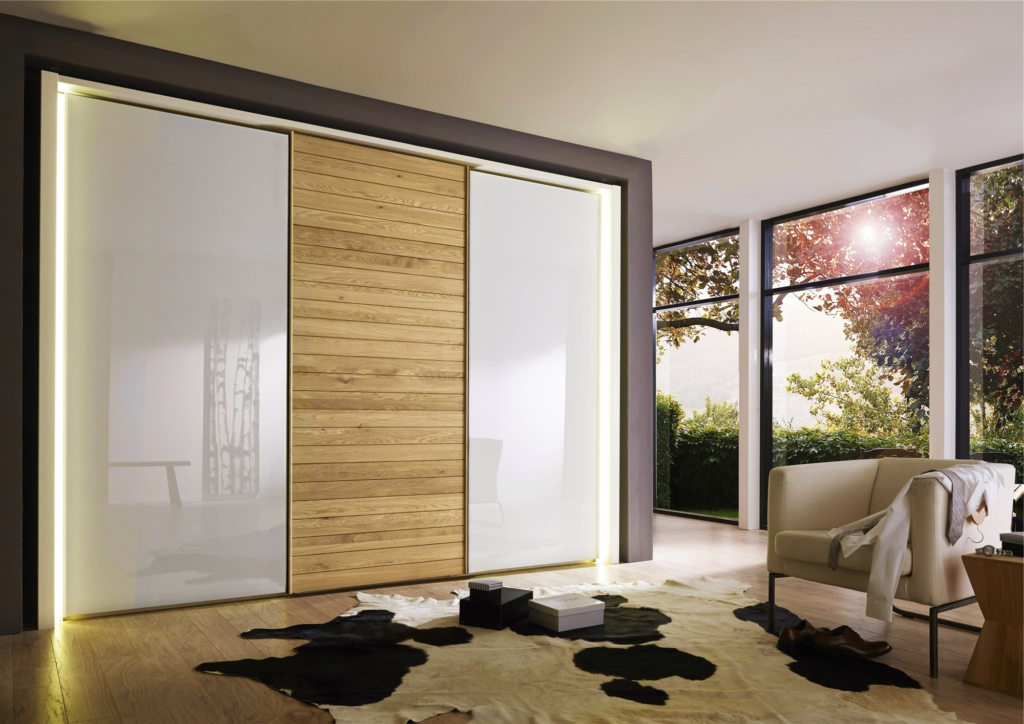 Glass Door Wardrobes, Oak Sliding Wardrobe Doors Hermes Sliding With Regard To 2018 Oak And White Wardrobes (View 15 of 15)