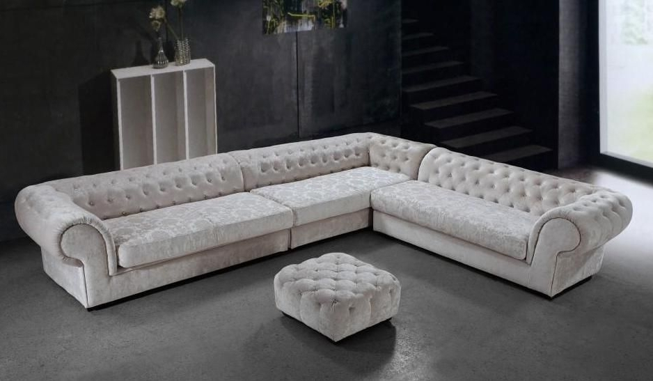 Graceful Tufted Microfiber Living Room Furniture Bridgeport Regarding Popular Tufted Sectional Sofas With Chaise (View 4 of 10)