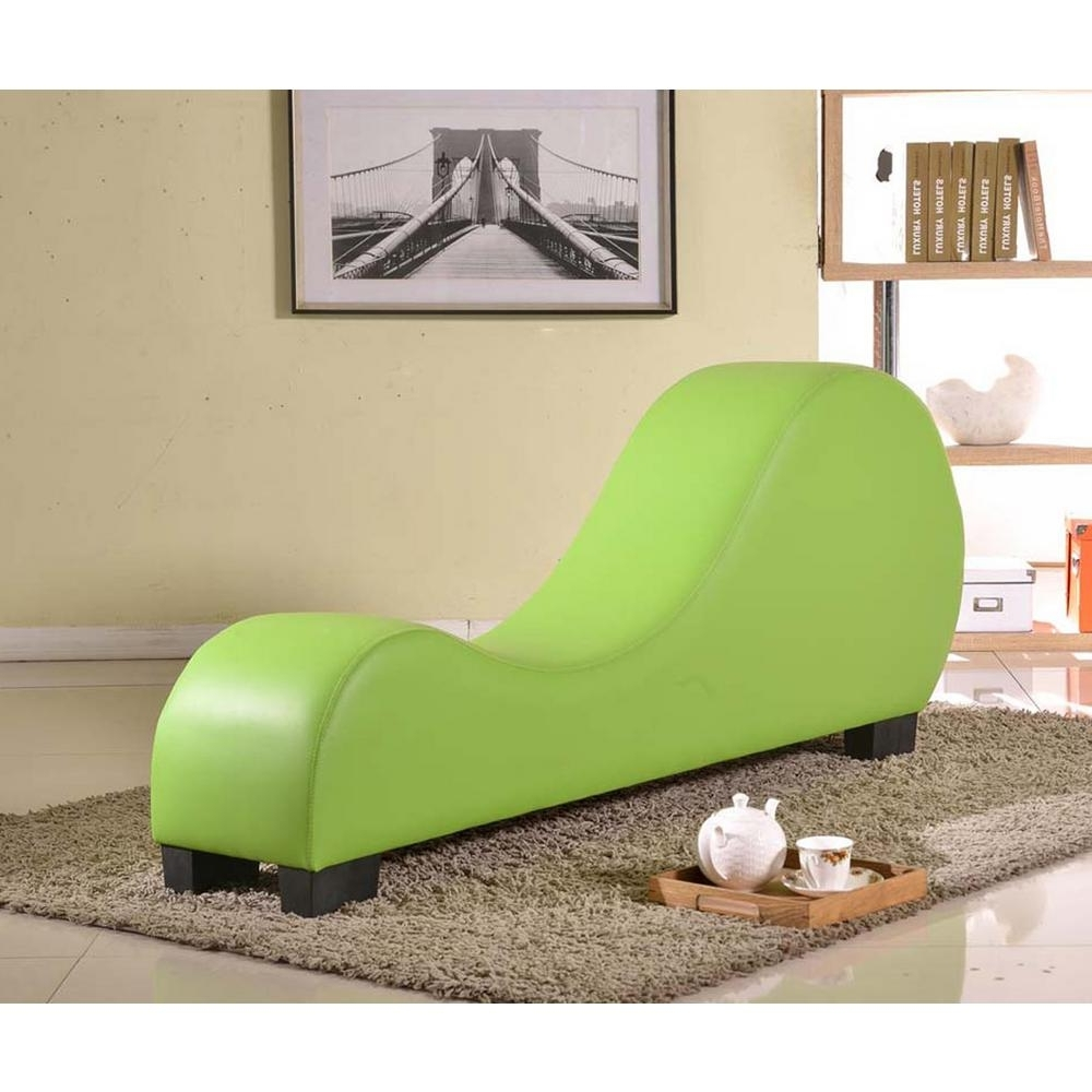 Green Chaise Lounge Chairs Regarding 2018 Green Faux Leather Chaise Lounge Cl 06 – The Home Depot (View 4 of 15)