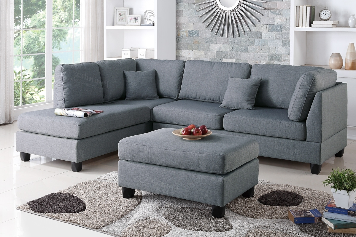 Grey Chaise Sectionals With Regard To 2017 Poundex Bobkona F7606 Grey Reversible Chaise Sectional Sofa & Ottoman (View 14 of 15)