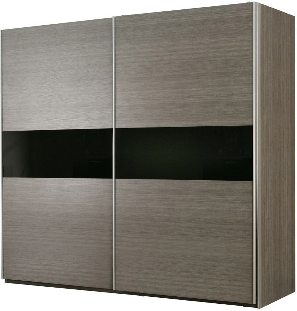 Grey Oak And Black Gloss Large 2 Door Sliding Wardrobe Pertaining To Most Recently Released Black Sliding Wardrobes (View 15 of 15)