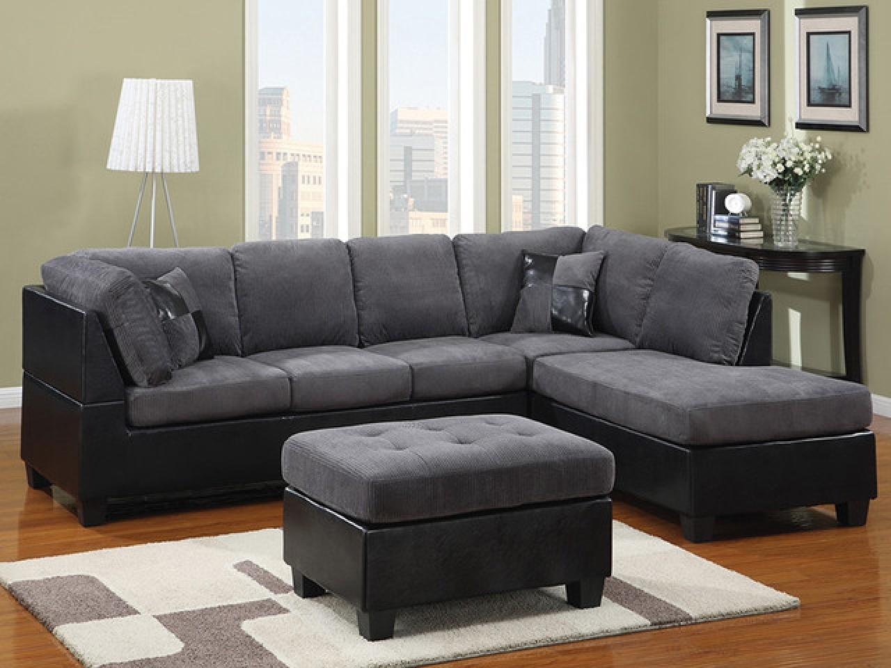 Grey Sectional Sofas With Chaise Intended For Most Up To Date Furniture: Pretty Collection Of Microfiber Sectional Sofa (View 6 of 15)