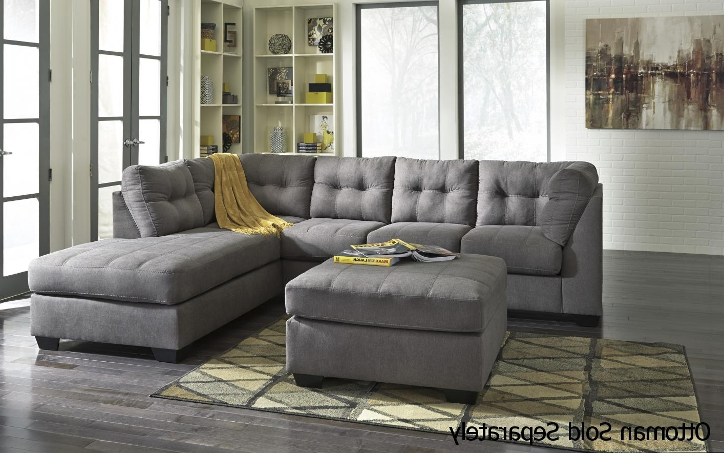 Grey Sofa Chaises Intended For Widely Used Grey Fabric Sectional Sofa – Steal A Sofa Furniture Outlet Los (Gallery 13 of 15)