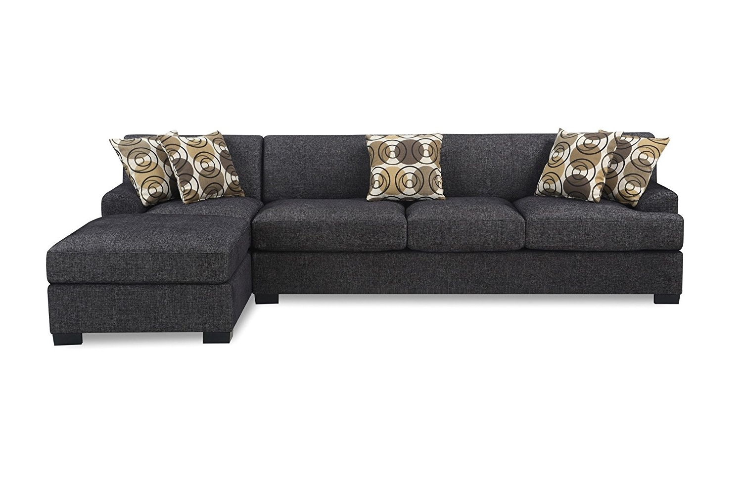 Grey Sofas With Chaise For Trendy Amazon: Bobkona Poundex Benford Collection Faux Linen Chaise (Gallery 7 of 15)