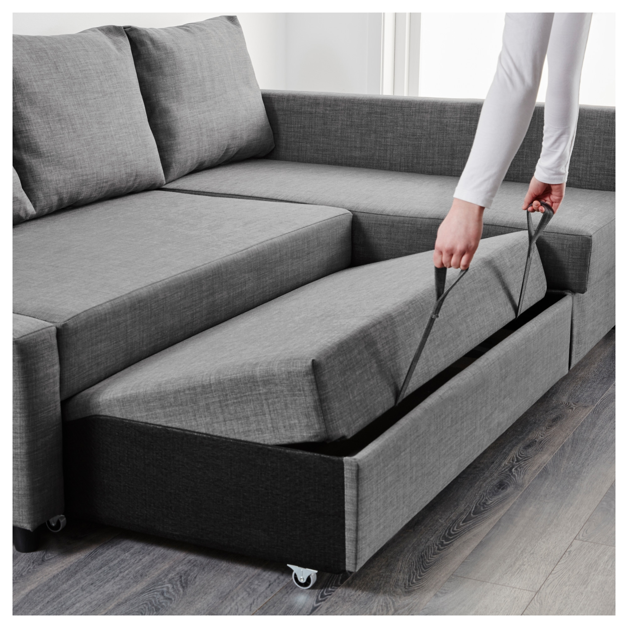 Grey Sofas With Chaise Throughout Most Current Friheten Corner Sofa Bed With Storage Skiftebo Dark Grey – Ikea (View 7 of 15)