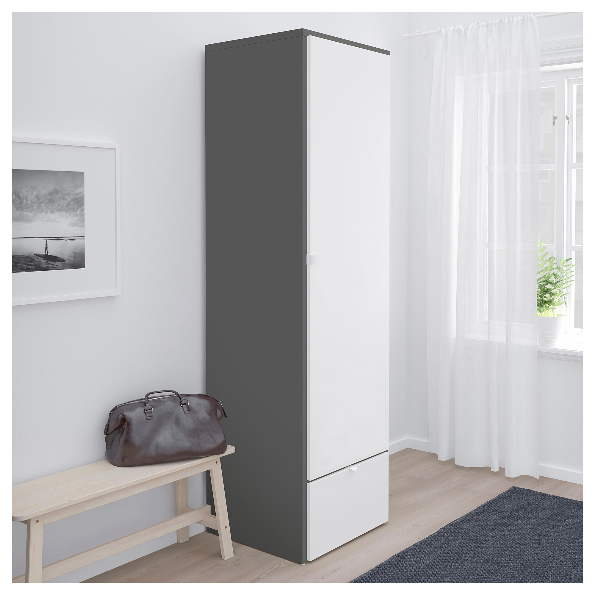 Grey Wardrobes With Newest Visthus Wardrobe Grey/white 63x59x216 Cm – Ikea (View 5 of 15)