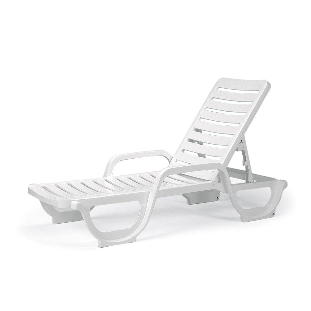 Grosfillex 44031004 – Bahia Stackable Chaise Lounge Chair – White With Regard To Trendy Resin Chaise Lounges (View 5 of 15)