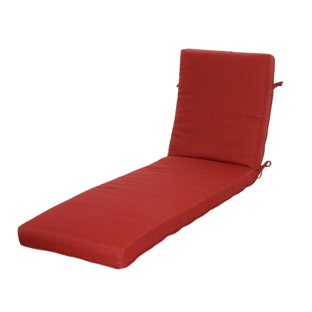 Hampton Bay Chili Texture Outdoor Chaise Lounge Cushion 7417 Inside Famous Outdoor Chaise Lounge Cushions (View 4 of 15)