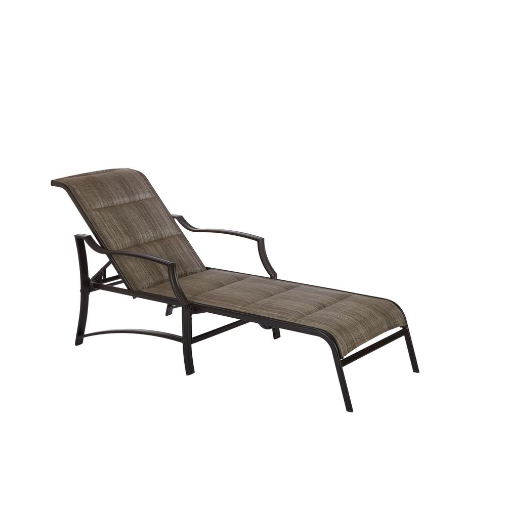 Hampton Bay Statesville Shell Aluminum Outdoor Chaise Lounge Intended For Trendy Chaise Lounge Chairs For Outdoors (View 6 of 15)