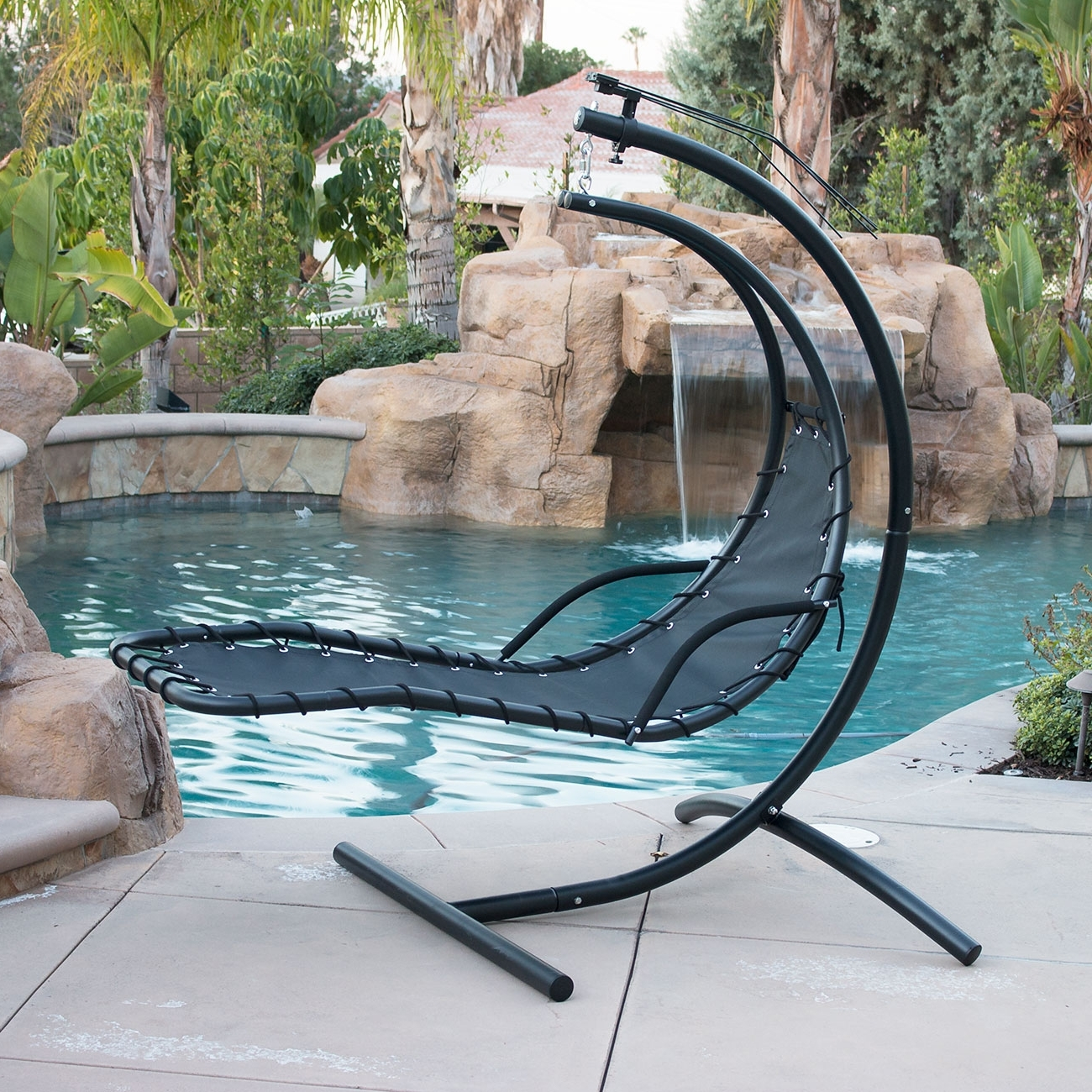 Hanging Chaise Lounge Chair Hammock Swing Canopy Glider Outdoor In Preferred Chaise Lounge Chairs For Sunroom (View 13 of 15)