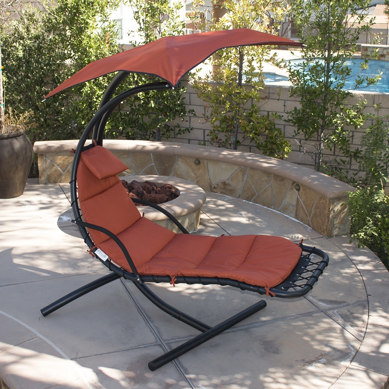 Hanging Chaise Lounge Chair Hammock Swing Canopy Glider Outdoor In Well Liked Hanging Chaise Lounge Chairs (View 6 of 15)