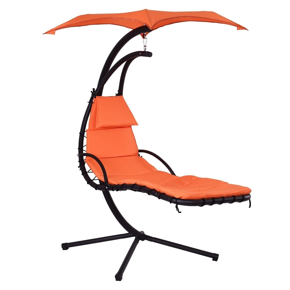 Hanging Chaise Lounge Chairs With Trendy Costway Hanging Chaise Lounge Chair Arc Stand Air Porch Swing (View 11 of 15)