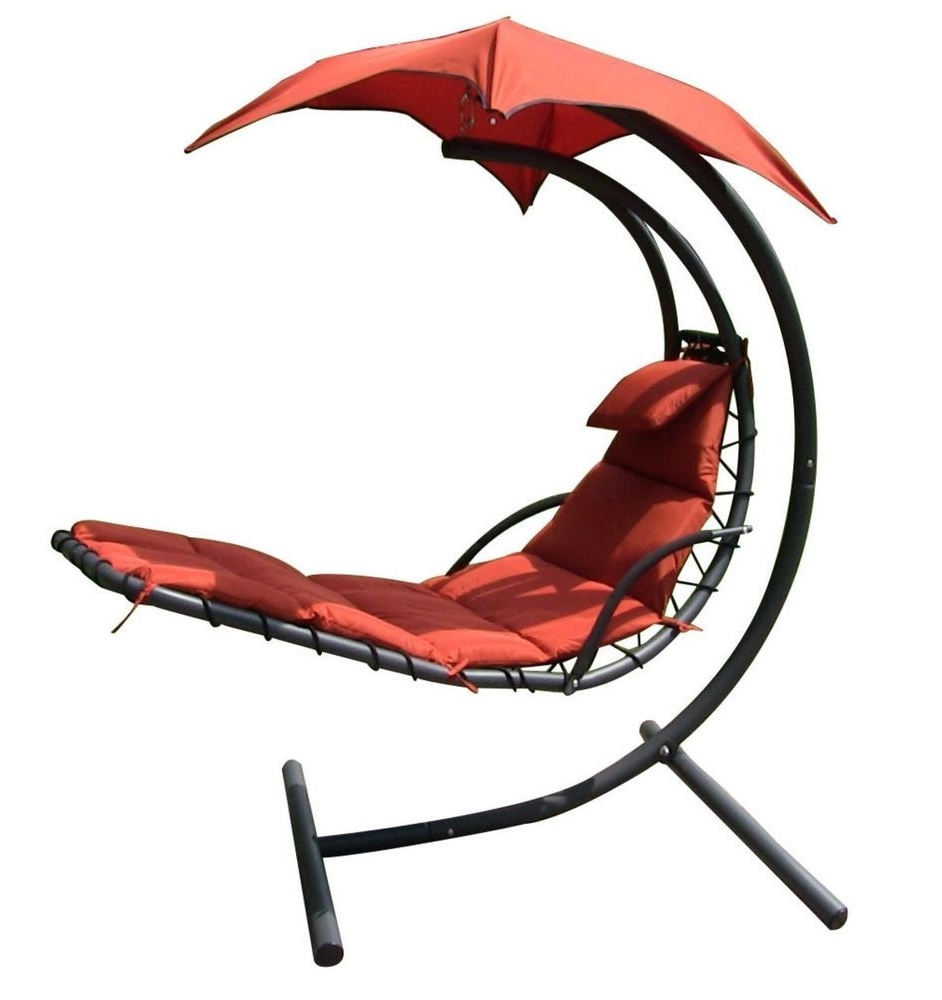 Hanging Chaise Lounger Canopy Chair Arc Stand Air Porch Swing With Regard  To Widely Used Chaise