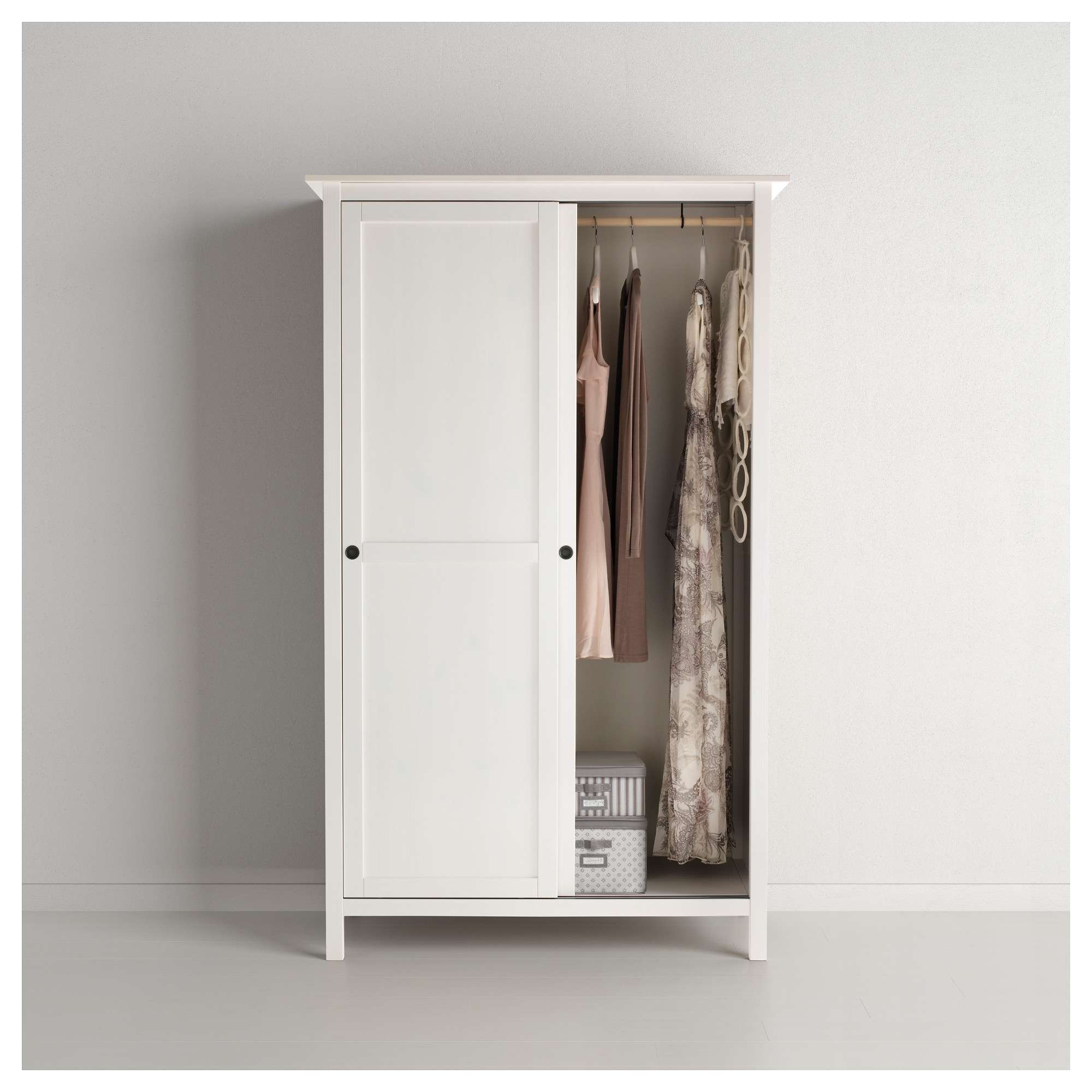 Hemnes Wardrobe With 2 Sliding Doors White Stain 120X197 Cm – Ikea For Best And Newest Wardrobes With 2 Sliding Doors (View 3 of 15)