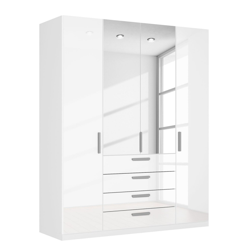 High Gloss White Wardrobes With Drawers Pertaining To Most Current 4 Door White Wardrobes (View 8 of 15)