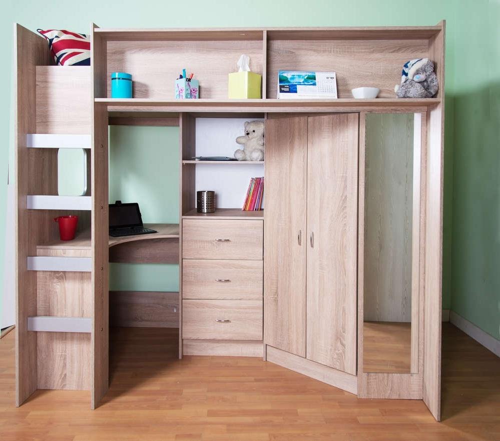 High Sleeper Bed With Wardrobes Regarding Favorite Stoneleigh High Sleeper Loft Bed Oak Colour (View 9 of 15)