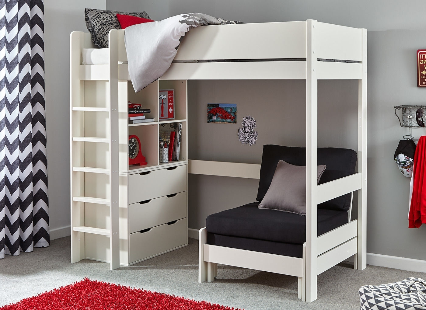 High Sleeper Bed With Wardrobes Within Trendy Tinsley Highsleeper With Chest And Storage – Black And White (View 10 of 15)